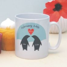 Penguins in Love Personalised Mug - Cute Valentine's Day Gift - Ideal for a Wedding, Anniversary or Birthday Present